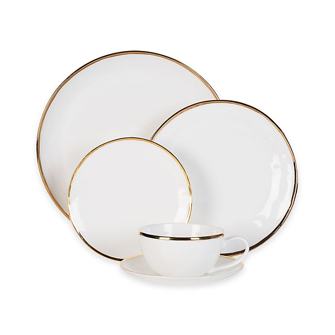 Alternate image 1 for Olivia & Oliver™ Harper Organic Shape Gold 5-Piece Place Setting