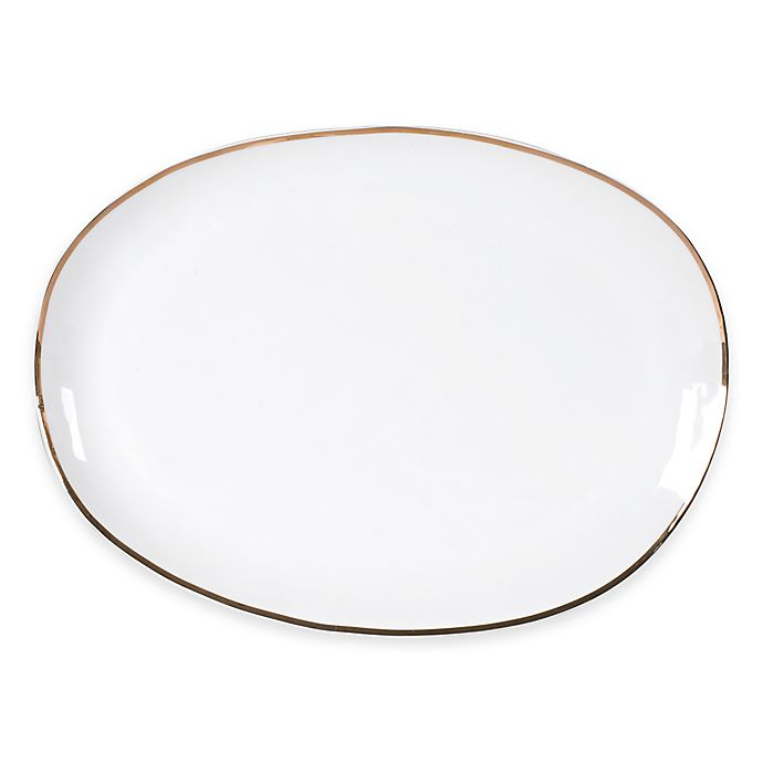Alternate image 1 for Olivia & Oliver™ Harper Organic Shape Gold 16-Inch Oblong Platter