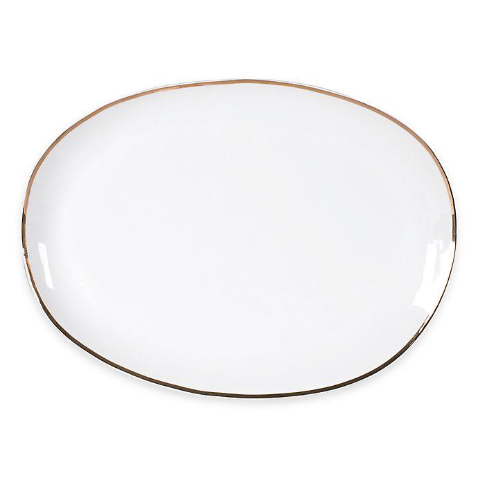 Alternate image 1 for Olivia & Oliver™ Harper Organic Shape Gold 16-Inch Oblong Platter