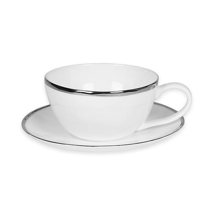 Alternate image 1 for Olivia & Oliver™ Harper Organic Shape Platinum Cup and Saucer