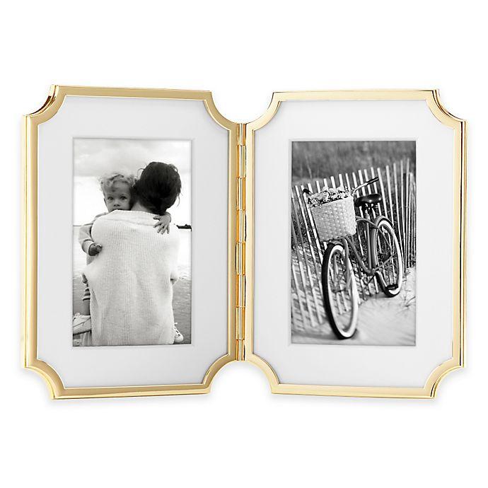 Alternate image 1 for kate spade new york Sullivan Street™ Gold 2-Opening Hinged Picture Frame