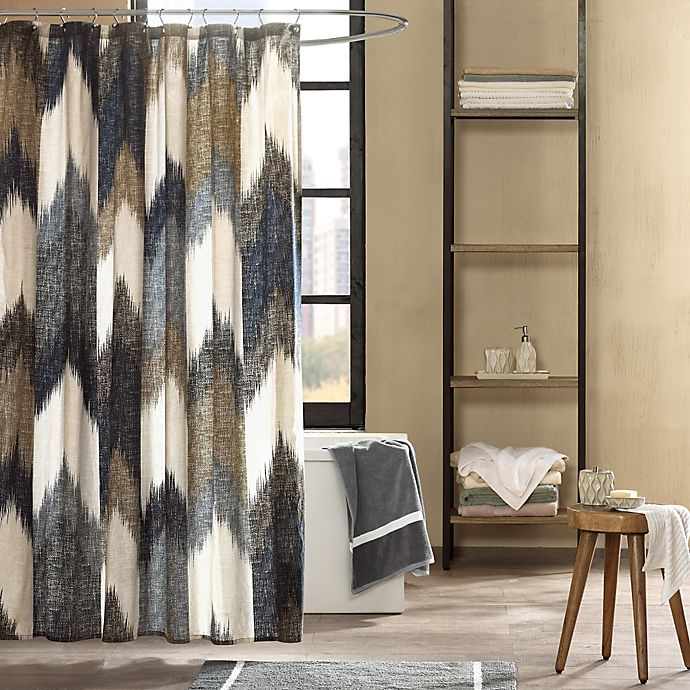 INK IVY Alpine Printed Shower Curtain In Navy