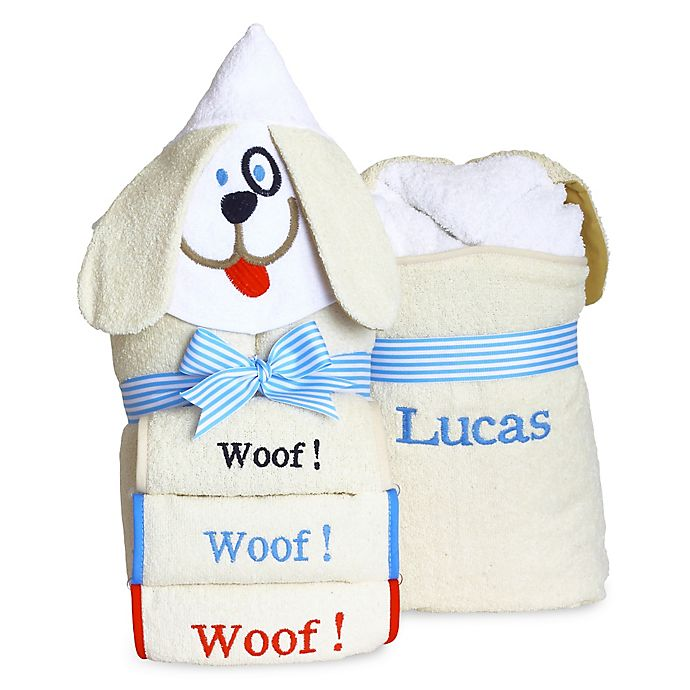 Alternate image 1 for Silly Phillie® Creations Puppy Hooded Baby Boy Towel Set