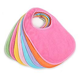 8-Pack Terry Feeder Bibs in Pink/Multi