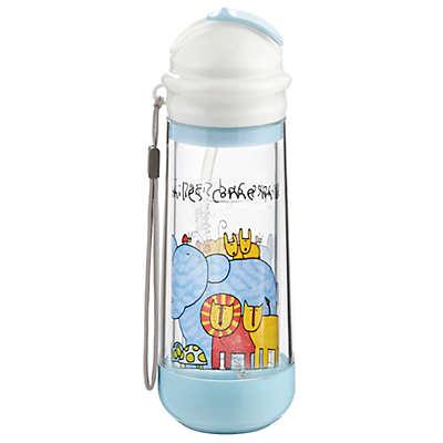 Nikiani Drinkadeux™ Sip Art 14 oz. Double Wall Glass Bottle with Straw in Blue