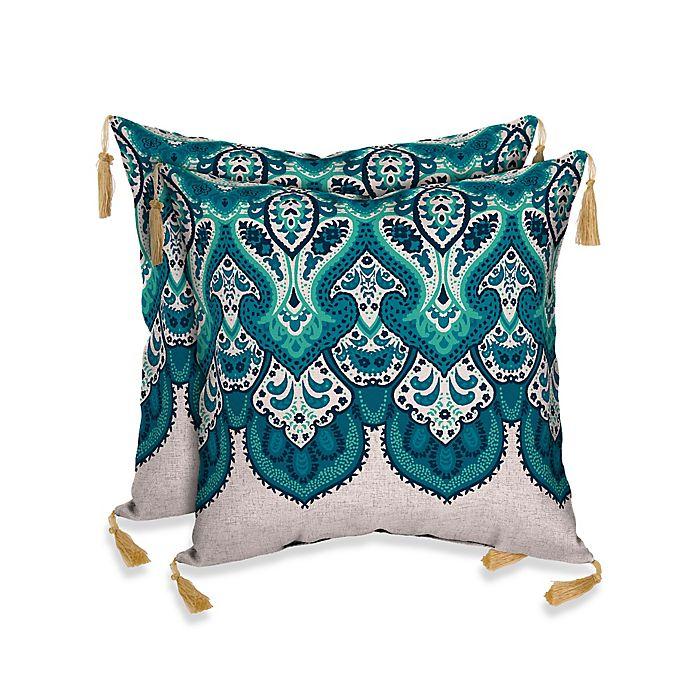 Bombay Mumbai Paisley Outdoor Throw Pillows In Cobalt Blue Bed