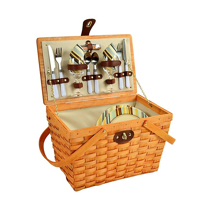 Alternate image 1 for Picnic at Ascot Full Equipped Frisco Picnic Basket for 2 in Honey
