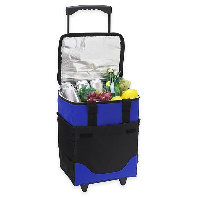 Alternate image 1 for Picnic at Ascot 32-Can Collapsible Rolling Cooler in Blue