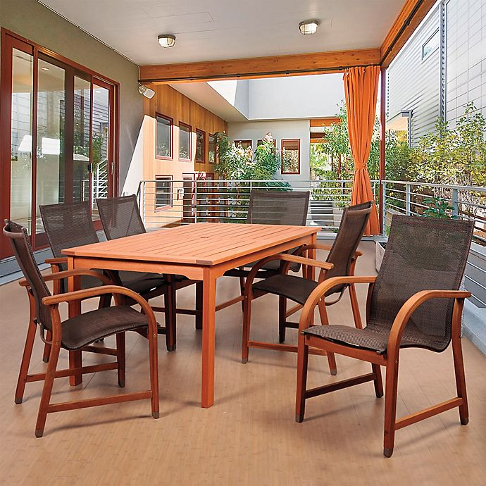 Amazonia Bahamas 7 Piece Eucalyptus Outdoor Patio Dining Set In With Brown Sling Chairs Bed Bath Beyond
