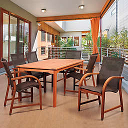 Amazonia Bahamas 7-Piece Eucalyptus Outdoor Patio Dining Set in with Brown Sling Chairs