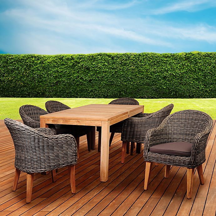 Alternate image 1 for Amazonia Brynwood 7-Piece Outdoor Dining Set in Teak/Petan