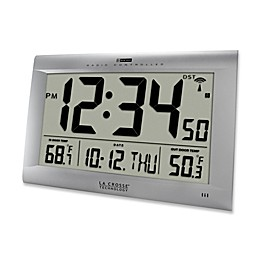 La Crosse Technology Large Atomic Digital Clock with Outdoor Temperature in Silver