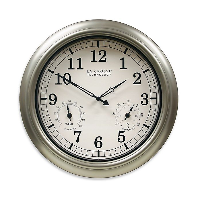 Alternate image 1 for La Crosse Technology Indoor/Outdoor Wall Clock with Temperature & Humidity in Silver