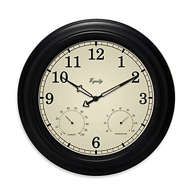 La Crosse Technology Indoor/Outdoor Wall Clock with Temperature & Humidity in Black