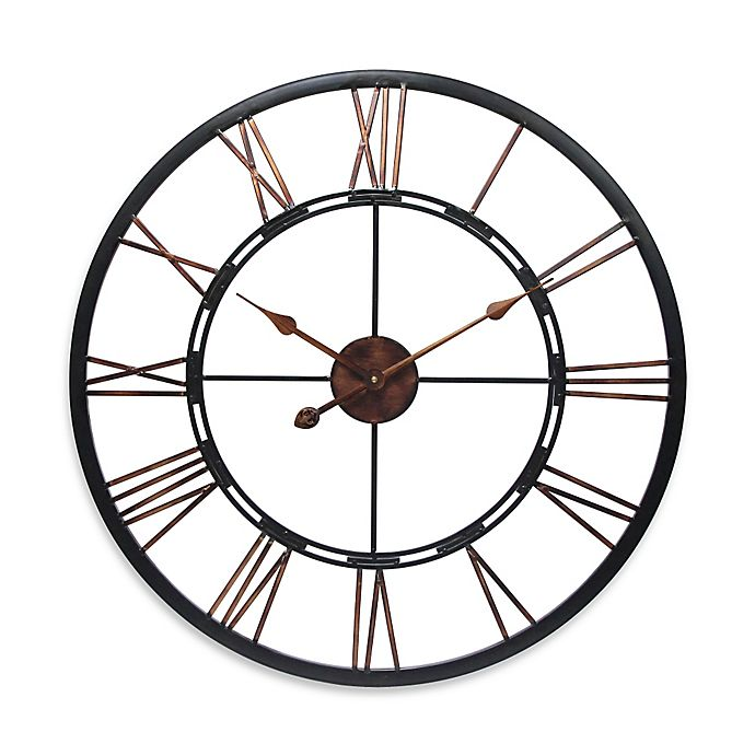 Alternate image 1 for Infinity Instruments 28-Inch Roman Numeral Metal Fusion Wall Clock