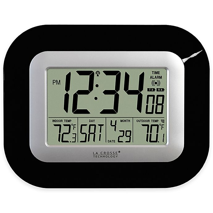 Alternate image 1 for La Crosse Technology Atomic Digital Clock with In/Outdoor Temperature in Black