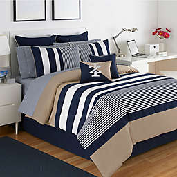 IZOD® Classic Stripe 4-Piece Reversible Queen Comforter Set in Navy/Taupe