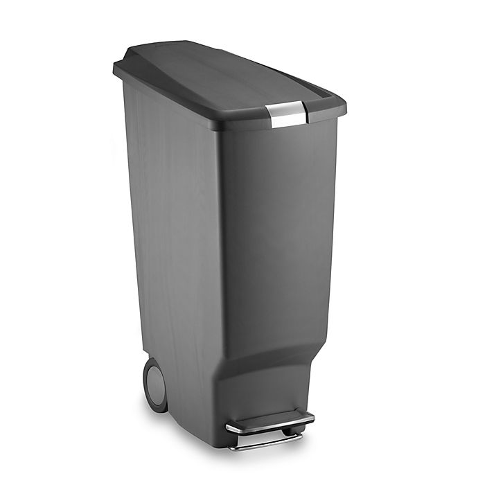 Alternate image 1 for simplehuman® Slim Plastic 40-Liter Step-On Trash Can in Grey