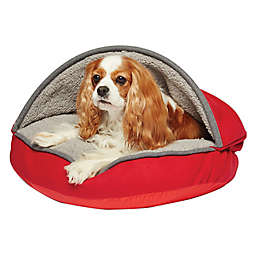 Precious Tails Plush Felt Sherpa Pet Cave Bed in Red