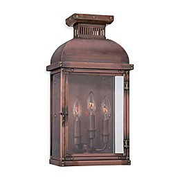 Minka Lavery® Copperton 3-Light Wall-Mount Pocket Lantern in Copper with Glass Shade