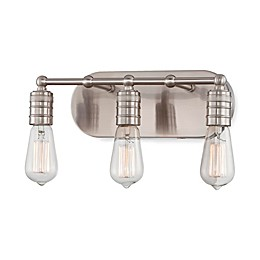 Minka Lavery® Downtown Edison 8.25-Inch 3-Light Wall-Mount Bath Fixture in Brushed Nickel