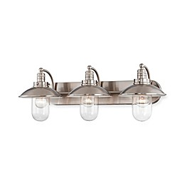 Minka Lavery® Downtown Edison 10.5-Inch 3-Light Wall-Mount Bath Fixture in Brushed Nickel