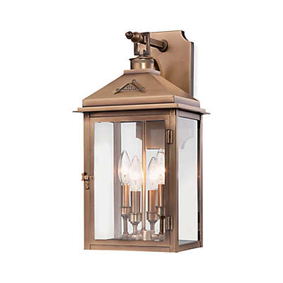 Minka Lavery® Eastbury Wall-Mount Outdoor Lantern in Brass with Glass Shade