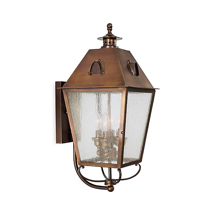 Alternate image 1 for Minka Lavery® Edenshire 22-Inch 4-Light Wall-Mount Outdoor Lantern in English Brass