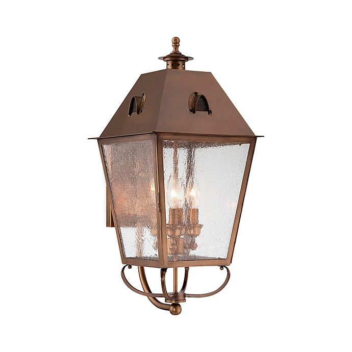 Alternate image 1 for Minka Lavery® Edenshire 26-Inch 4-Light Wall-Mount Outdoor Lantern in English Brass