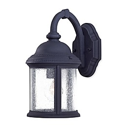 The Great Outdoors® Hancock™ Wall-Mount Lantern in Black with Seeded Glass Shade