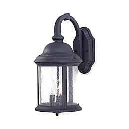The Great Outdoors® Hancock™ 17.5-Inch 3-Light Wall-Mount Lantern in Black w/ Glass Shade