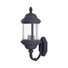 The Great Outdoors® Hancock™ 23.5-Inch 3-Light Wall-Mount Lantern in Black w/ Glass Shade