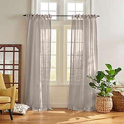 Vienna Sheer 84-Inch Tie-Top Window Curtain Panel in Light Grey (Single)