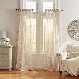 Westport Floral 95-Inch Sheer Tie Top Window Curtain Panel in Flax (Single)