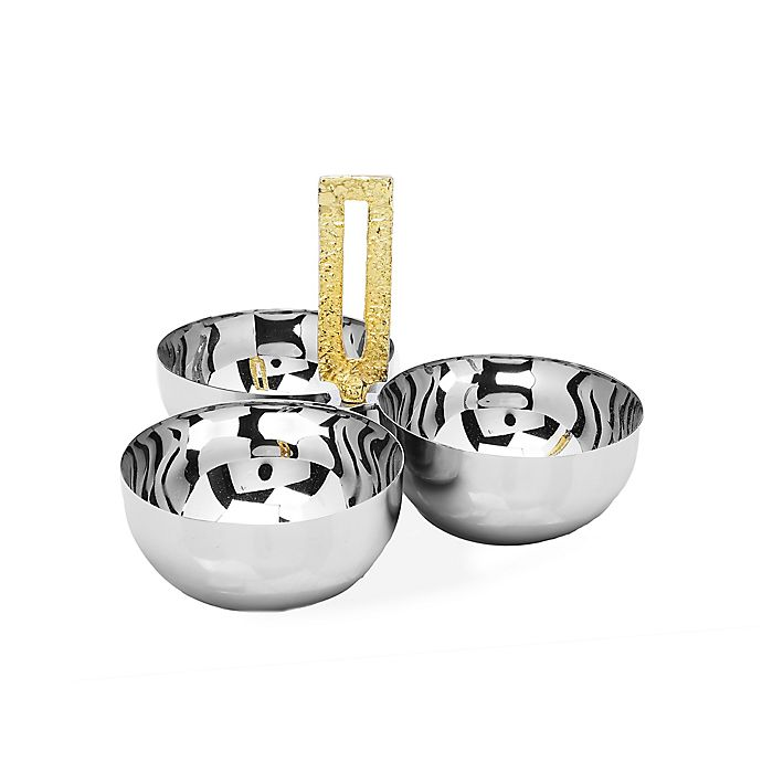 Alternate image 1 for Classic Touch 3-Bowl Stainless Steel Relish Dish with Square Gold Loop Handle