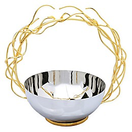 Classic Touch 7-Inch Stainless Steel Bowl with Gold Twig Handle