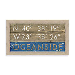 Oceanside Coordinates 28-Inch x 16-Inch Framed Wall Art