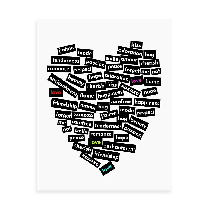 Alternate image 1 for Love Stickers Words of the Heart 11-Inch x 14-Inch Wall Art