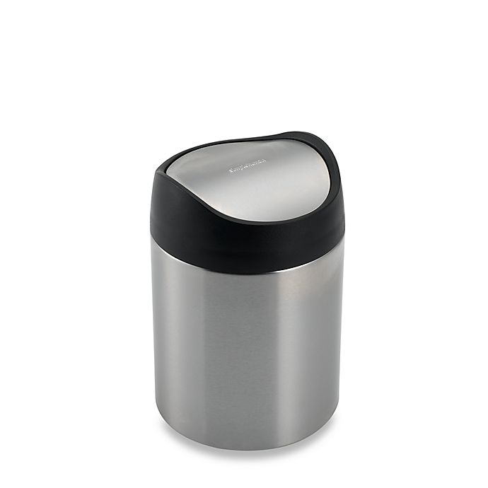 Alternate image 1 for simplehuman® Brushed Stainless Steel Fingerprint-Proof 1 1/2-Liter Countertop Trash Can