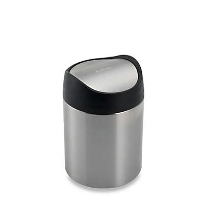 simplehuman® Brushed Stainless Steel Fingerprint-Proof 1 1/2-Liter Countertop Trash Can