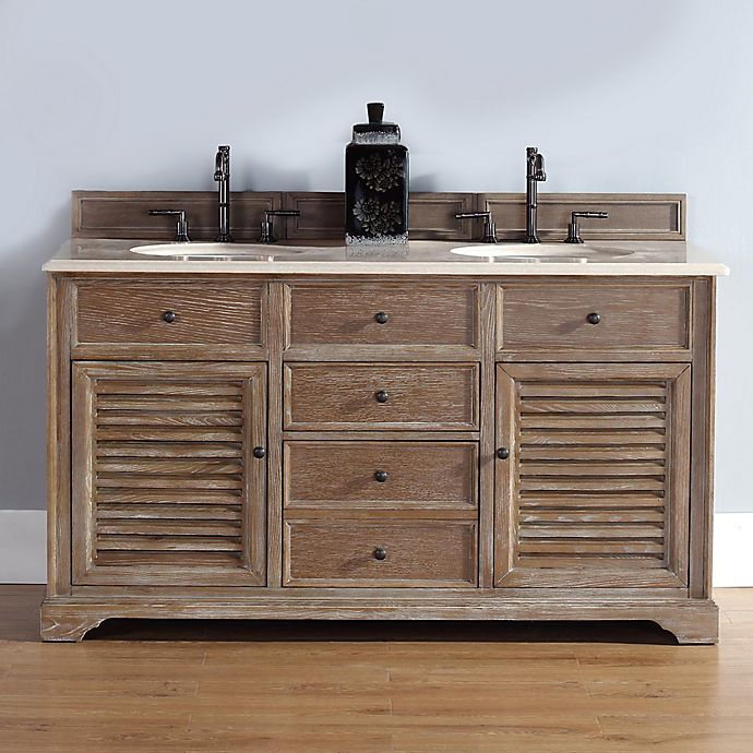 Alternate image 1 for James Martin Furniture Savannah Double Vanity with Galala Beige Stone Top in Driftwood