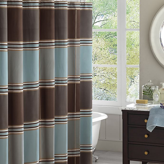 Madison Park Lincoln Jacquard Shower Curtain In Blue