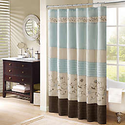 Madison Park Serene 72-Inch x 72-Inch Embroidered Shower Curtain in Blue