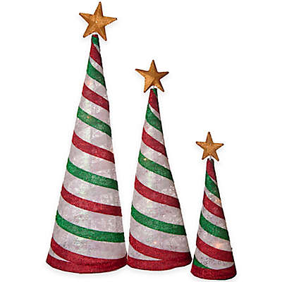 Pre-Lit Fabric Cone Tree Lantern Set in Peppermint Stripe