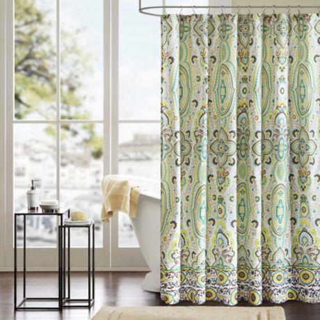 Intelligent Design Tasia Shower Curtain In Green Bed