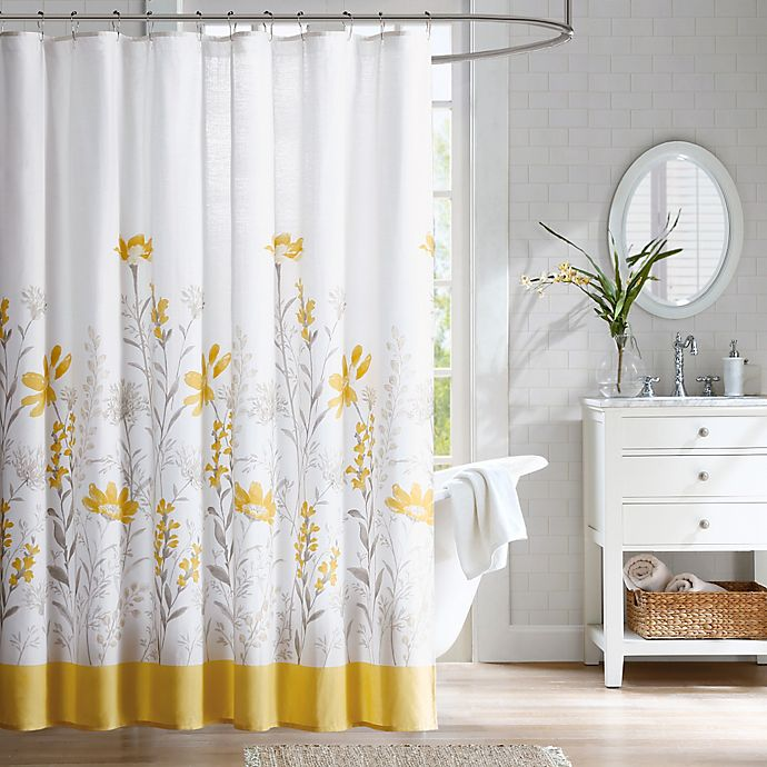 harbor house meadow cotton shower curtain in yellow bed bath beyond. Black Bedroom Furniture Sets. Home Design Ideas