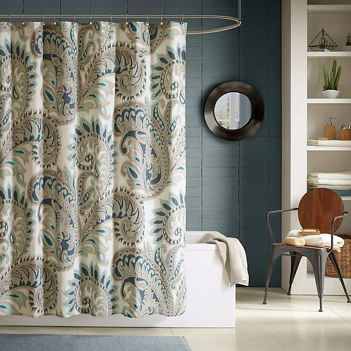 Alternate image 1 for INK+IVY Mira Printed Shower Curtain in Blue
