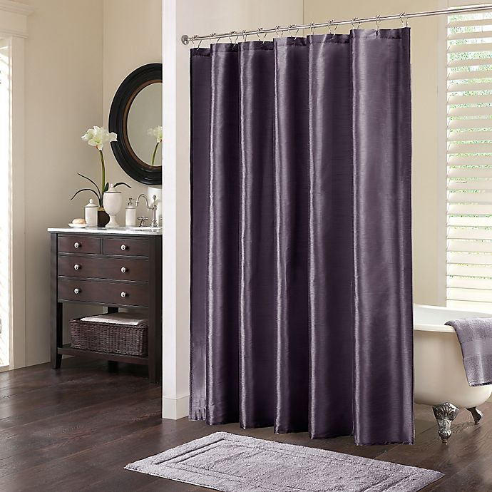 Madison Park Audrina Polyester Shower Curtain In Plum Bed Bath