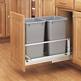 Rev-A-Shelf - 5349-1527DM-217 - Double 27 Qt. Pull-Out Brushed Aluminum and Silver Waste Container