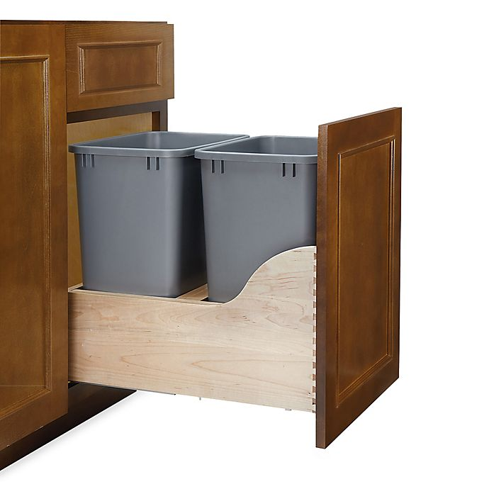 Alternate image 1 for Rev-A-Shelf® 4WCSC Series 35-Quart Double Waste Container Wood Pull-Out in Silver